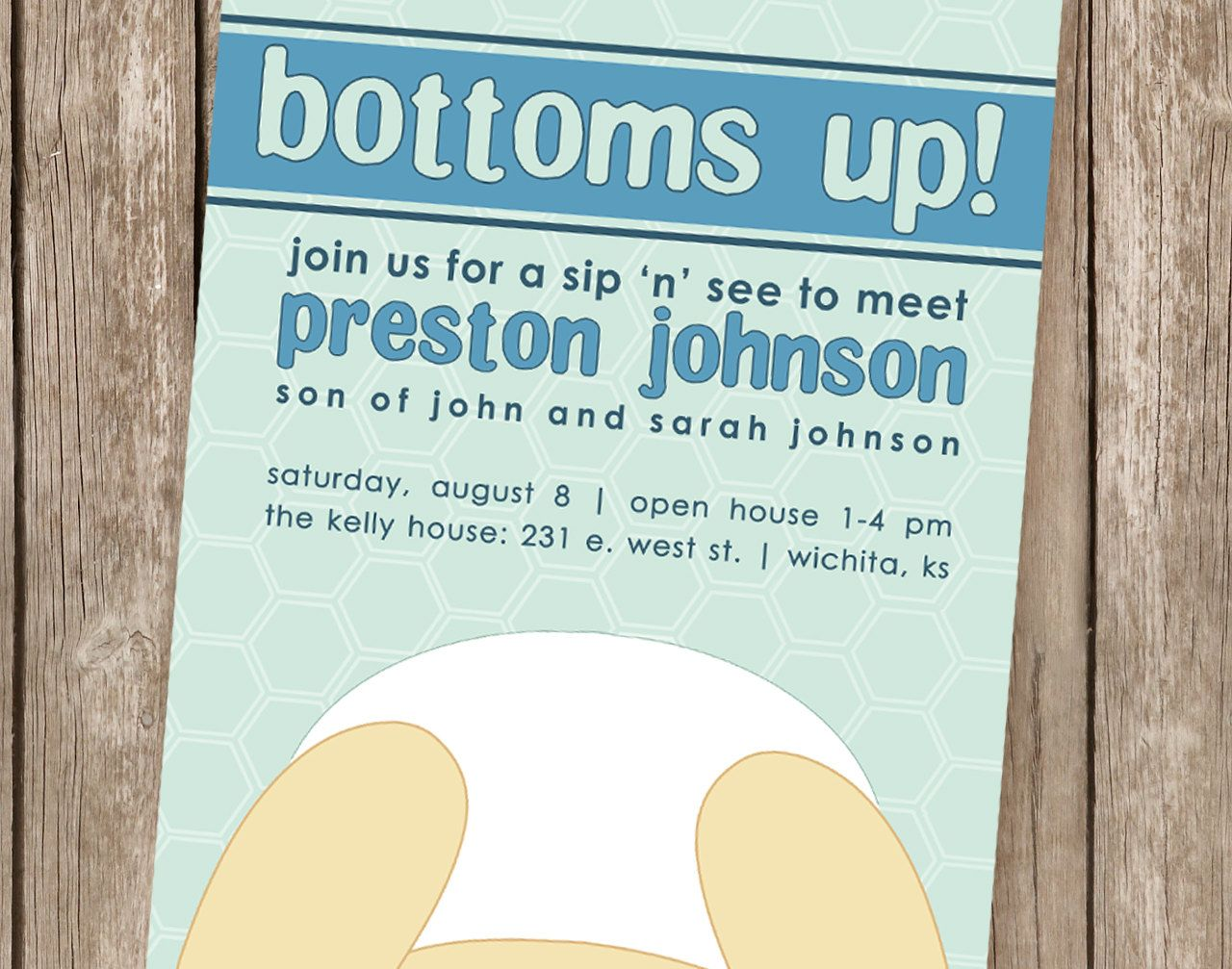 BOTTOMS UP - Blue Boy Baby Shower Sip and See Invitation - perfect ...