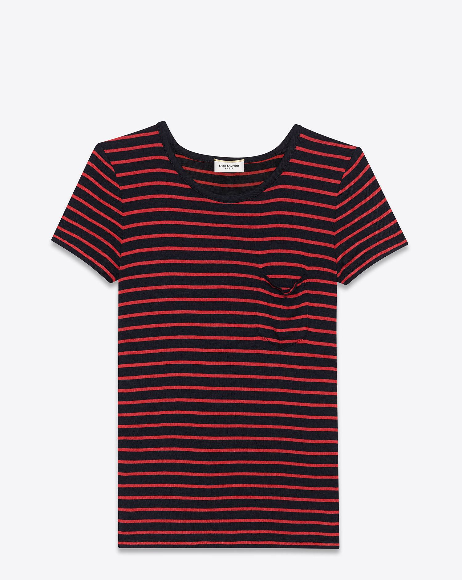 54f3a4b72e5f Saint Laurent Classic Short Sleeve Pocket T Shirt In Black And Red Striped  Silk Jersey - ysl.com