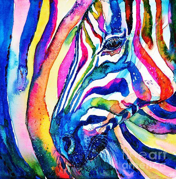 Watercolor By Zaira Dzhaubaeva Zebra Wildlife Africa Animals Popart