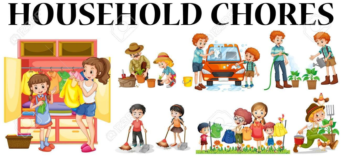 image result for family doing household chores together clipart
