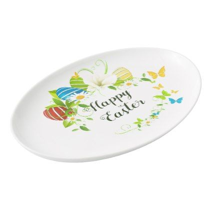 Easter Eggs Spring Flowers And Butterflies Wreath Porcelain Serving Platter    Script Gifts Template Templates Diy Amazing Design