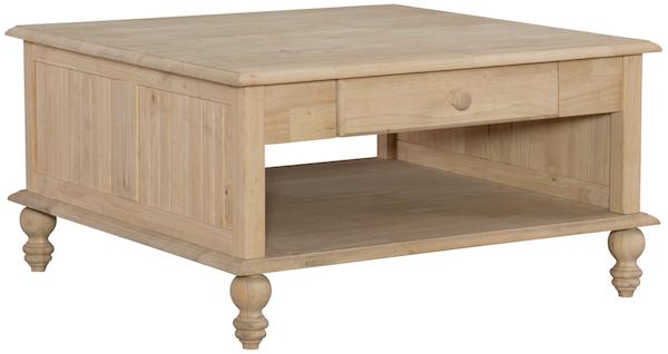 Parawood Cottage Square Coffee Table Natural Unfinished Furniture Endtable Decor Livingroom Naturalwood Woodfurniture Wood