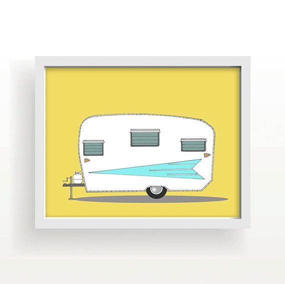vintage camper, mid century modern, camper, large wall art, orange ...