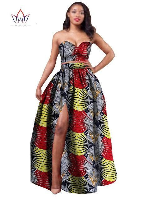 2017 African Clothes Dashiki for Women Bazin Riche Crop Top and ...