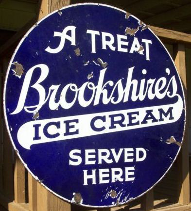 Large Round Blue Sign For Brookshires Ice Cream More Porcelain