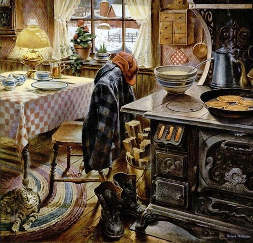 Norman Rockwell -granma & granpa's farm house kitchen - can you feel the cozy comfort there? :)