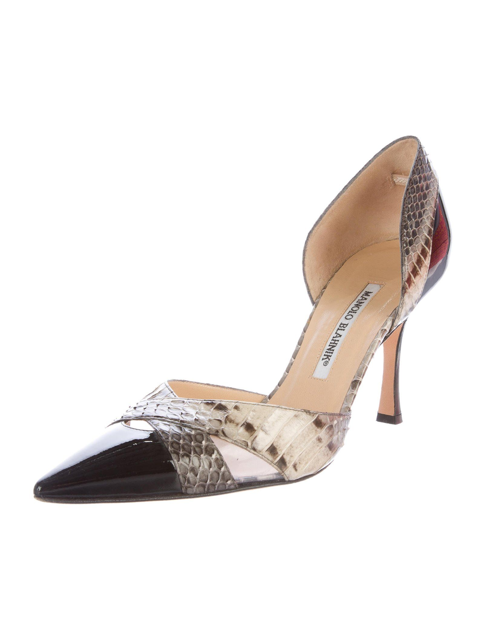 Manolo Blahnik Python-Trimmed Slingback Booties clearance store sale online free shipping low shipping fast delivery sale online hlcyk88M