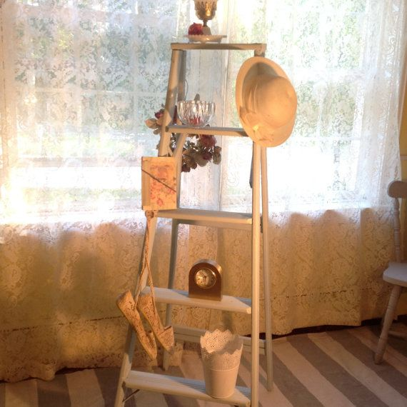 Shelf ladder Shabby chic, Up-cycled distressed Wood shelf, Home Decor, Cottage Chic, chalk paint, blue green, 5 ft.