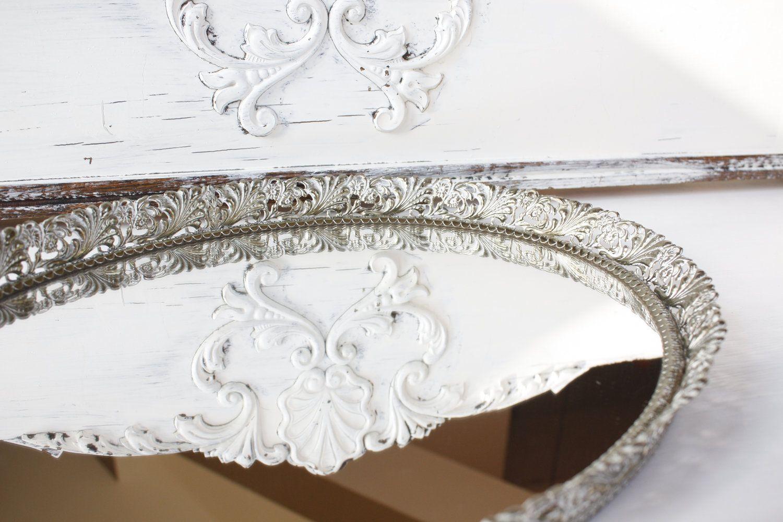 Vintage Gold Filigree Vanity Mirror Tray. $23.00, via Etsy.