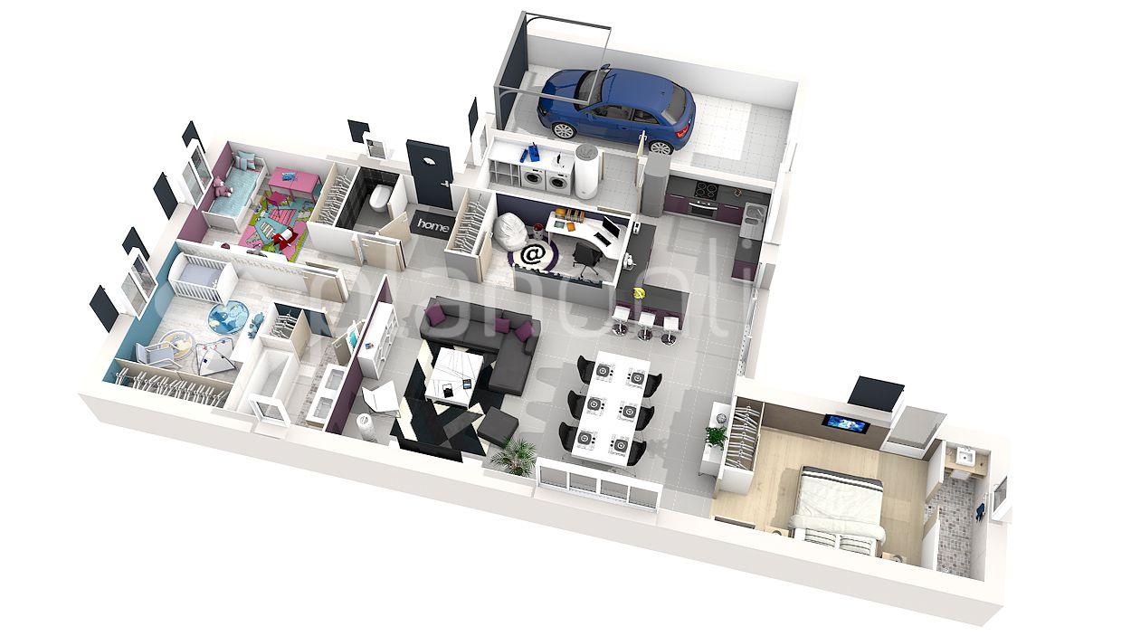 3d 360 Plan 3d Plan 2d Plan De Maisons Pinterest Plans De Avec Plan De Maison Simple 3 Chambres ...