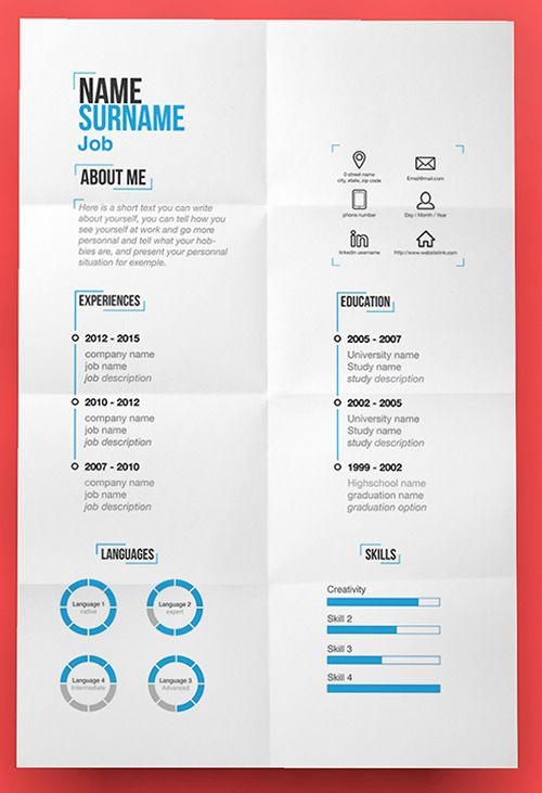 Free Modern Resume Template (PSD) Creative Pinterest Resume