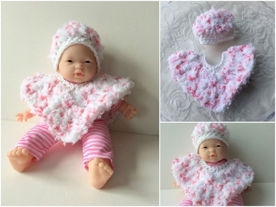 11 Inch Baby Doll Clothes Doll Poncho And Hat By Crocheted4kids Baby Doll Clothes Baby Dolls Crochet Doll Clothes