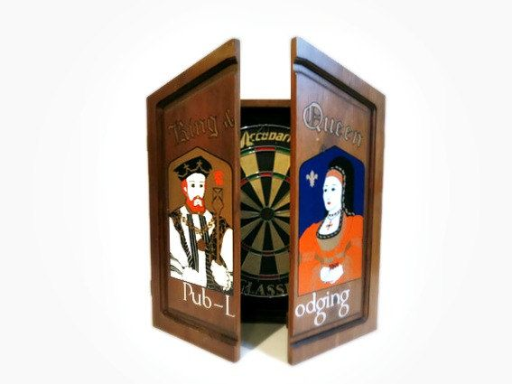 Vintage Dartboard Cabinet with New Dart Board by
