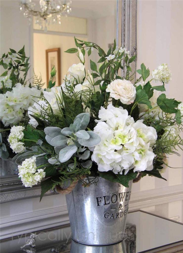 Stunning Large Artificial Silk Flower Arrangement White Hydrangea Metal Bucket Large Flower Arrangements Flower Arrangements Diy Fake Flower Arrangements