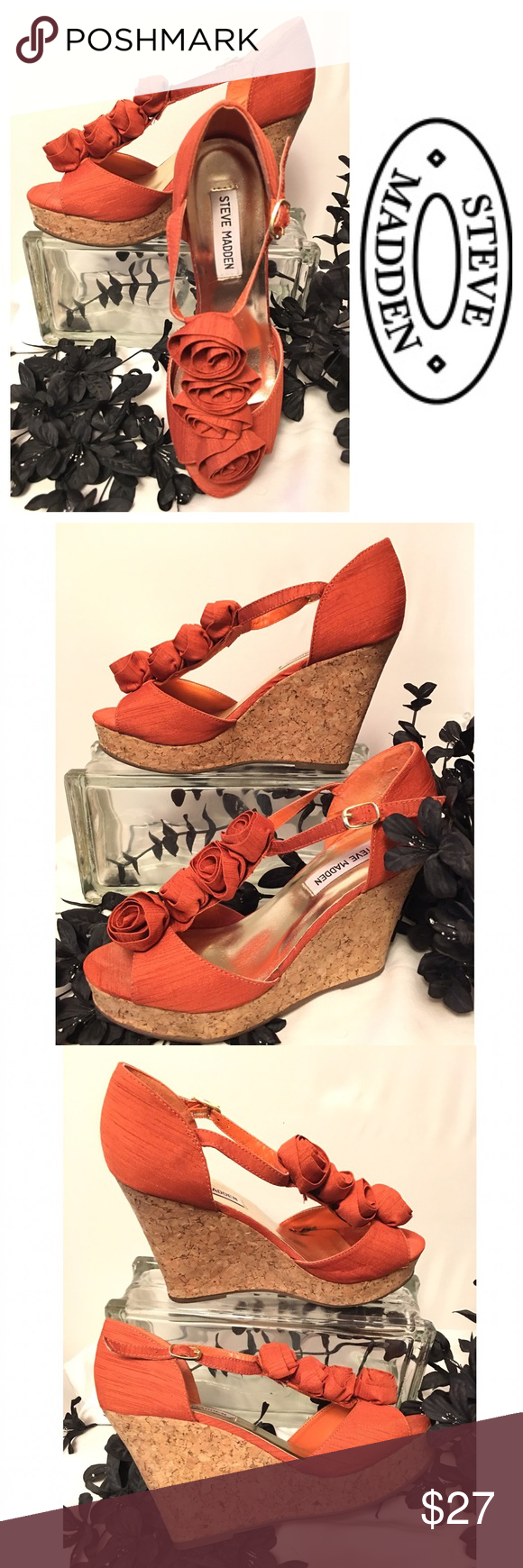 "Steve Madden Wedge Sandals This is an awesome pair of shimmery orange cloth, t-strap Steve Madden cork wedge sandals with rosettes.  4"" heel Steve Madden Shoes Wedges"