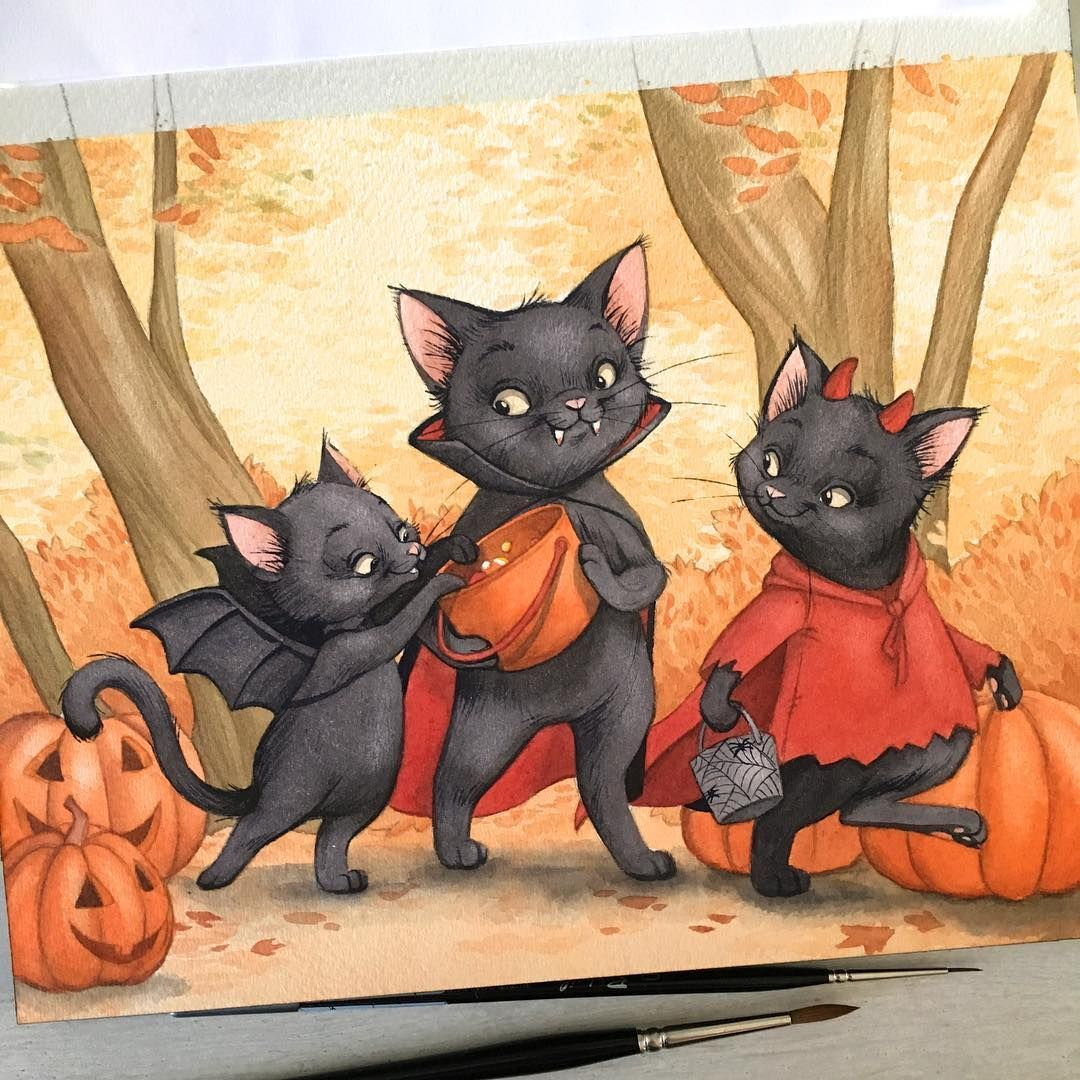 "3,291 Likes, 54 Comments - Julie Mellan Illustration (@juliedessine) on Instagram: ""Happy Halloween little kitties !"""