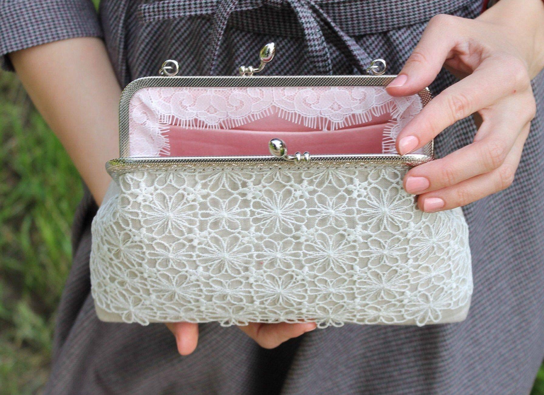 Bridal clutch linen handbag or crossbody purse with white