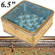 "Rare Antique French 6.5"" Ormolu & Beveled Glass Jewel Box, Vitrine, Enamel Heiroglyphics: Napoleonic Egyptian Campaign"
