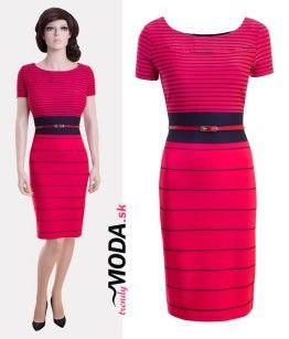 Trendy červené pruhované dámske šaty vhodné do práce c4c35d99588