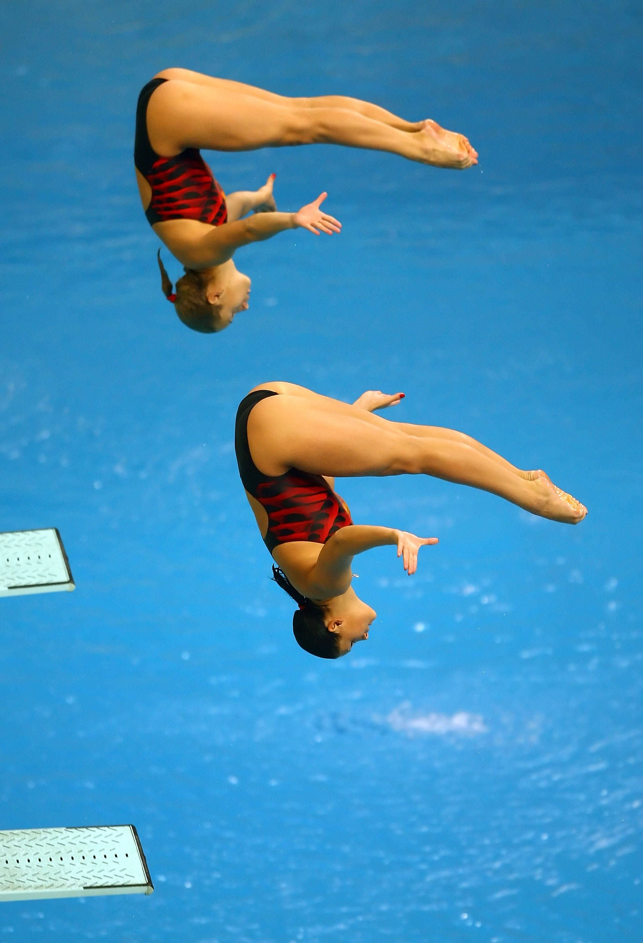 Women S Synchronized Diving Swimming Diving Synchronized Swimming Diving Springboard