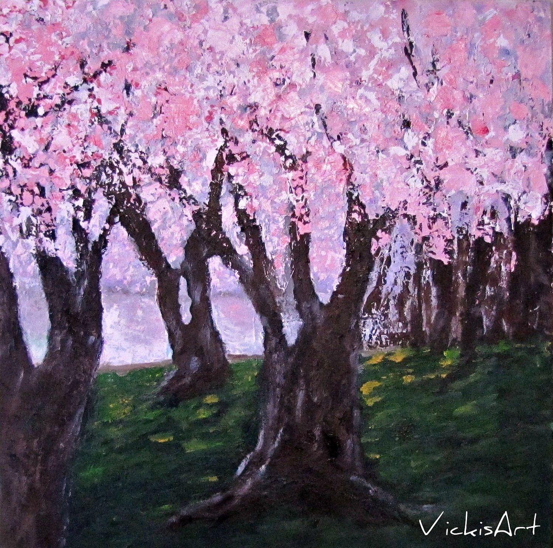 Cherry Blossom Trees Original Acrylic Painting Original 36 X 36 X 1 1 2 200 00 Via Etsy Evergreen Tree Tattoo Tree Painting Tree Photography