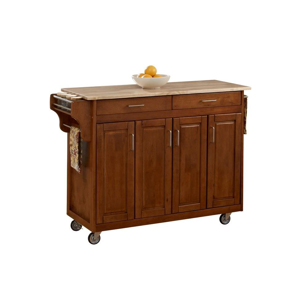 Homestyles Create A Cart Warm Oak Kitchen Cart With Natural Wood Top 9200 1061 The Home Depot In 2020 Wood Storage Cabinets Home Styles Kitchen Cart