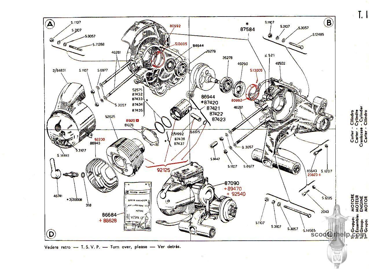 motor  vespa vna bj  1958