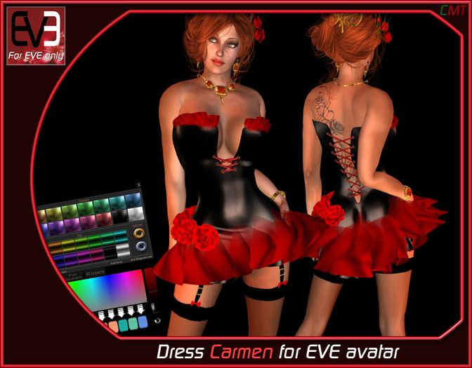 "*!* Dress Carmen for EVE "" second life avatar "" by Ginger chevalier"