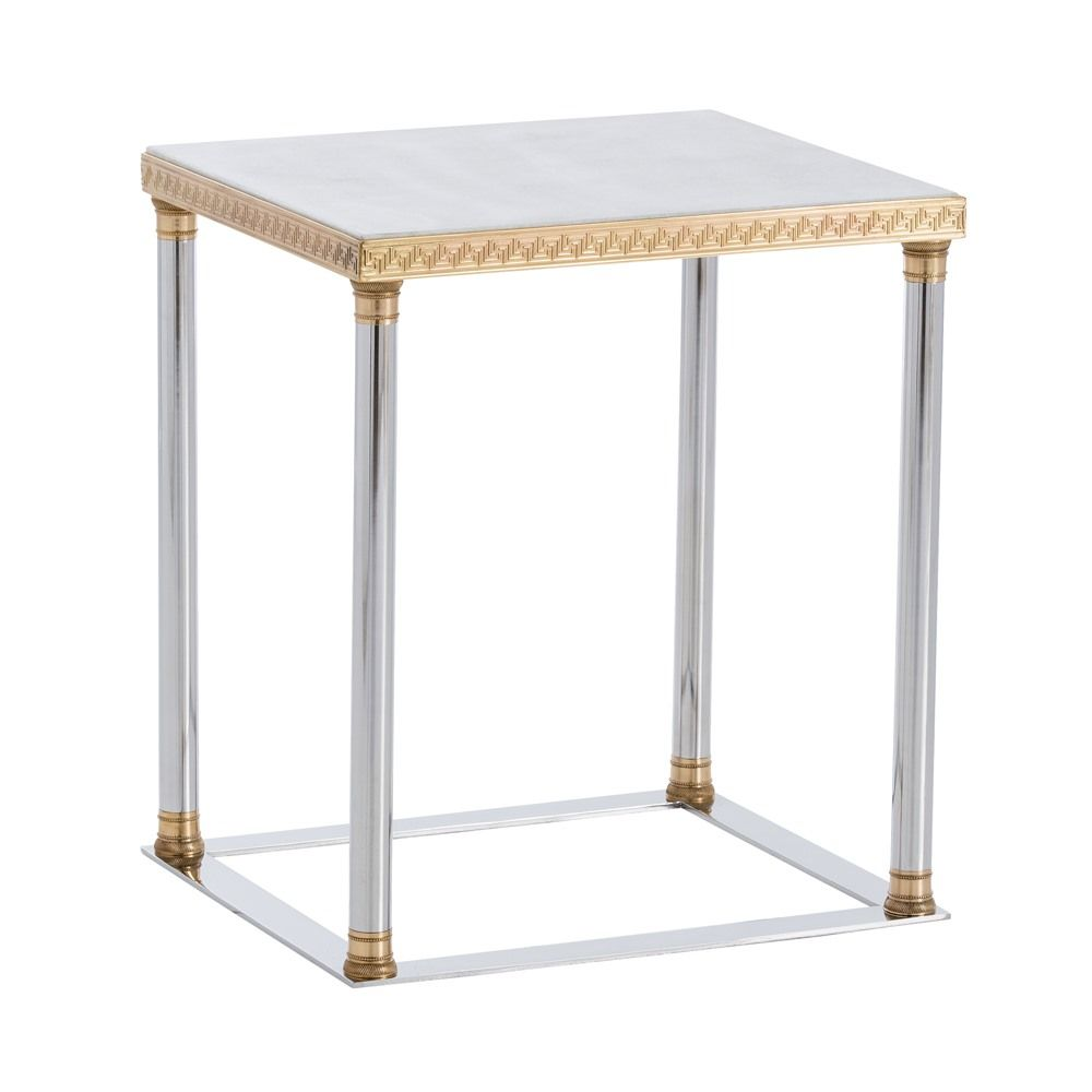 Arteriors Windsor Smith Pax Side Table With Etched Polished Brass Details U0026  Polished Nickel Frame