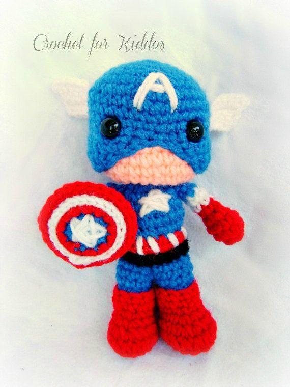 PATTERN Captain USA | Häkelideen, Handarbeiten und Häkeln