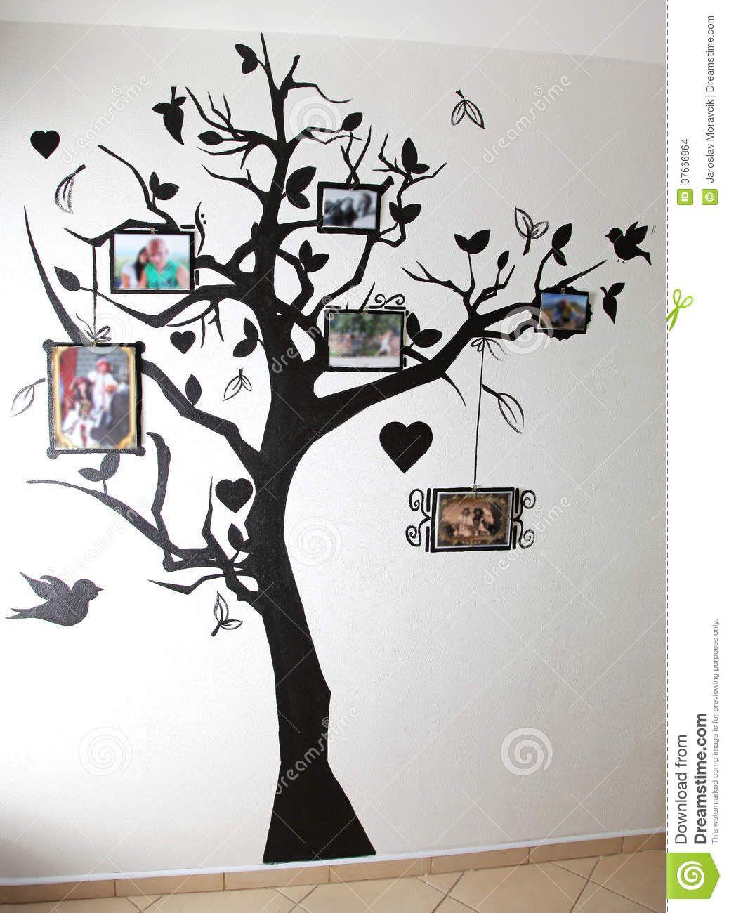 Arbol sencillo con fotos decoraciOn para el hogar pinterest painted tree on wall by jaroslav moravcik via dreamstime