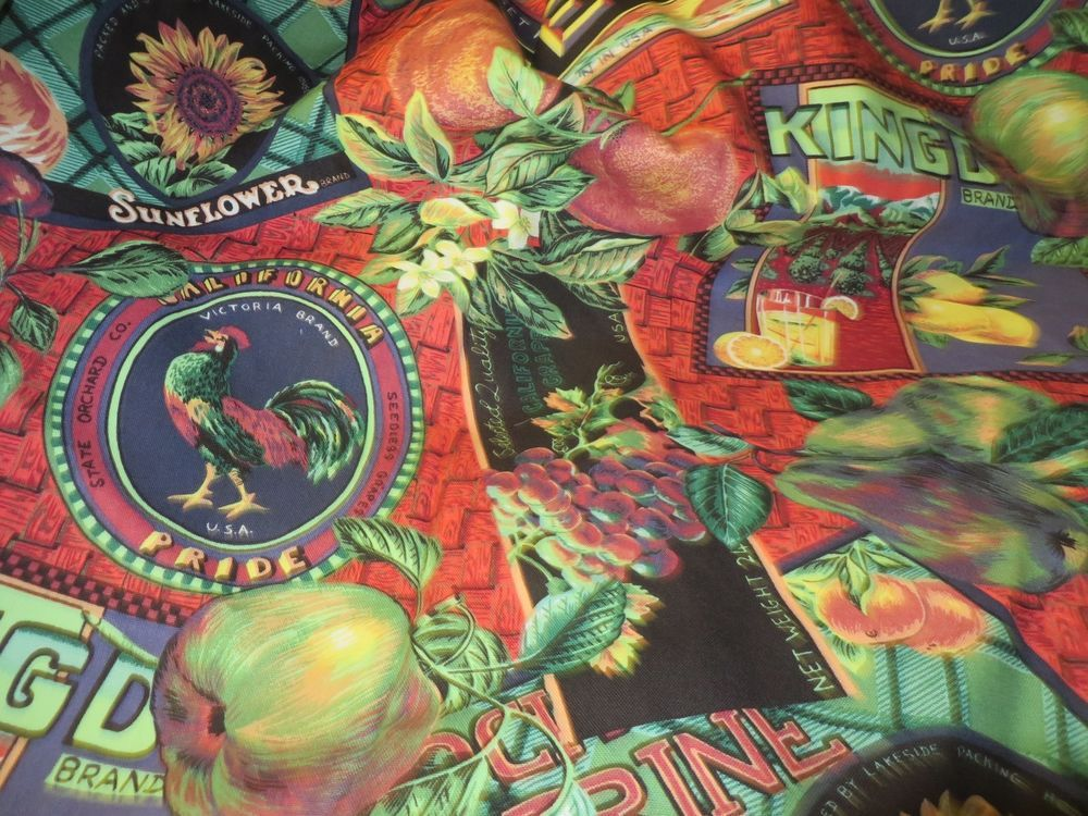 p kaufman fabric print rooster sunflower nostalgic scotch guarded