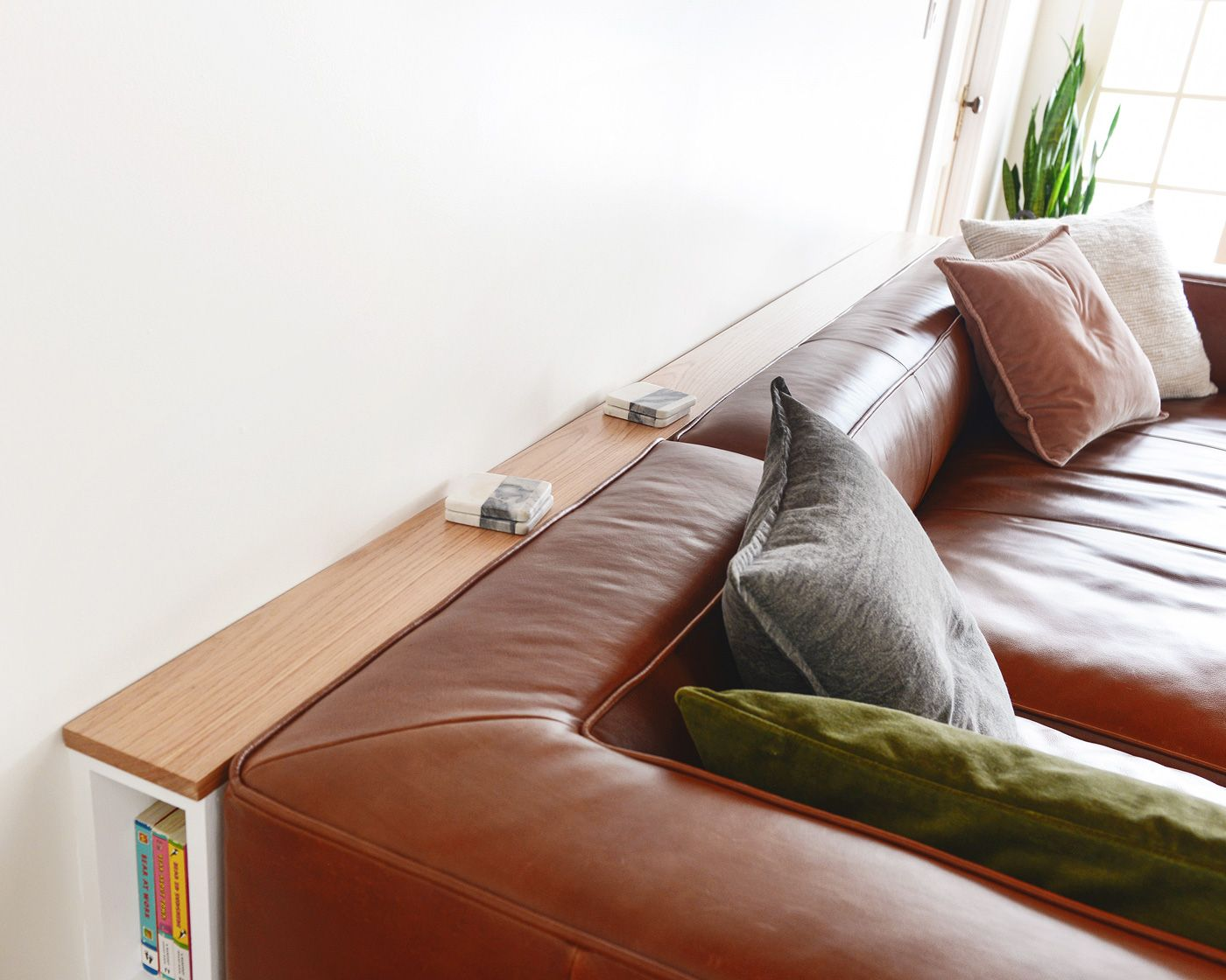 Diy Problem Solving A Slim Behind The Sofa Console Diy Sofa Table Diy Furniture Couch Behind Sofa Table