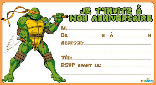 Invitation anniversaire tortue ninja michelangelo tortue - Tortue ninja michael angelo ...