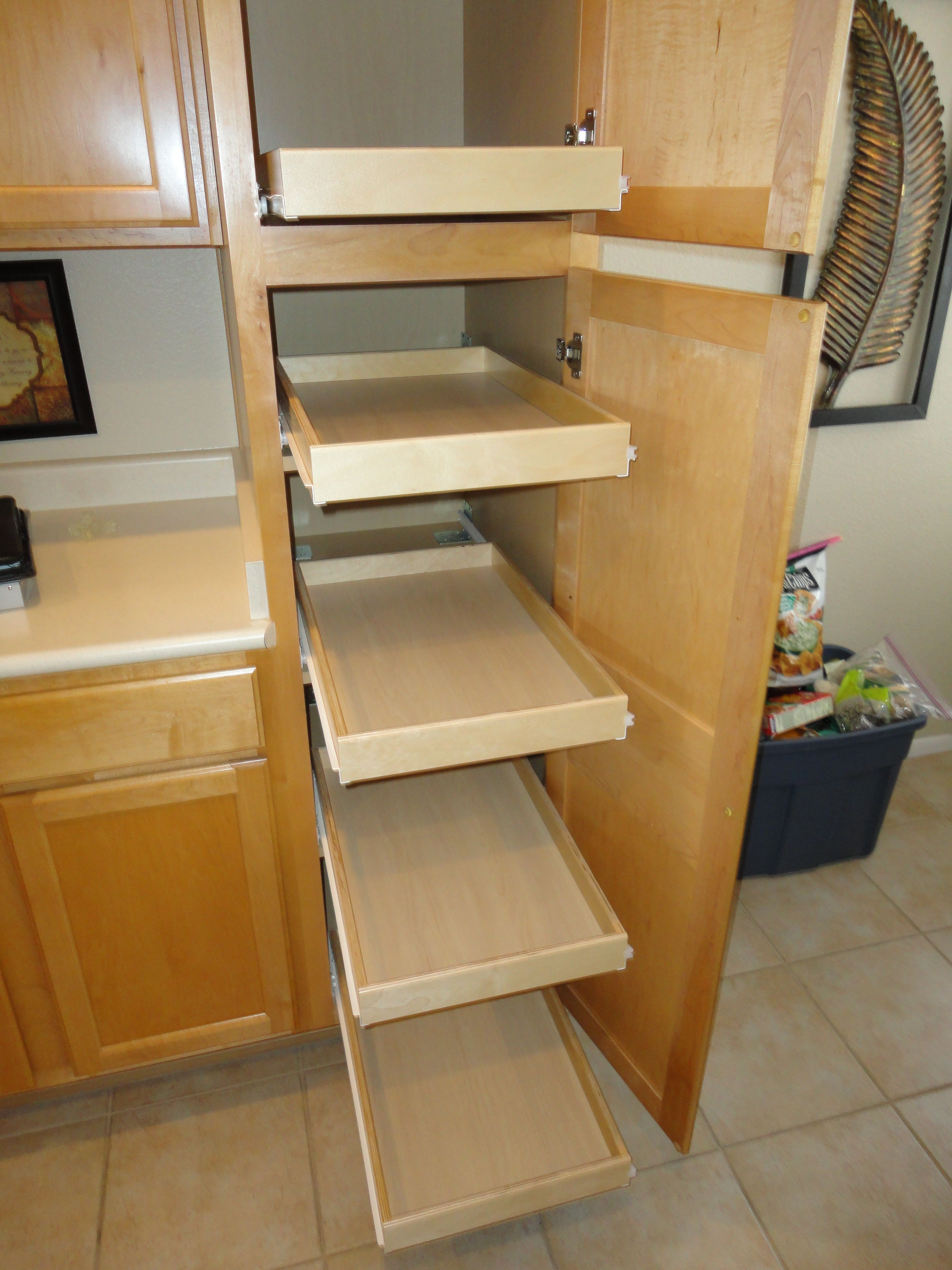 Attaching Pull Out Shelves Onto Pantry Shelves Allows The Shelves