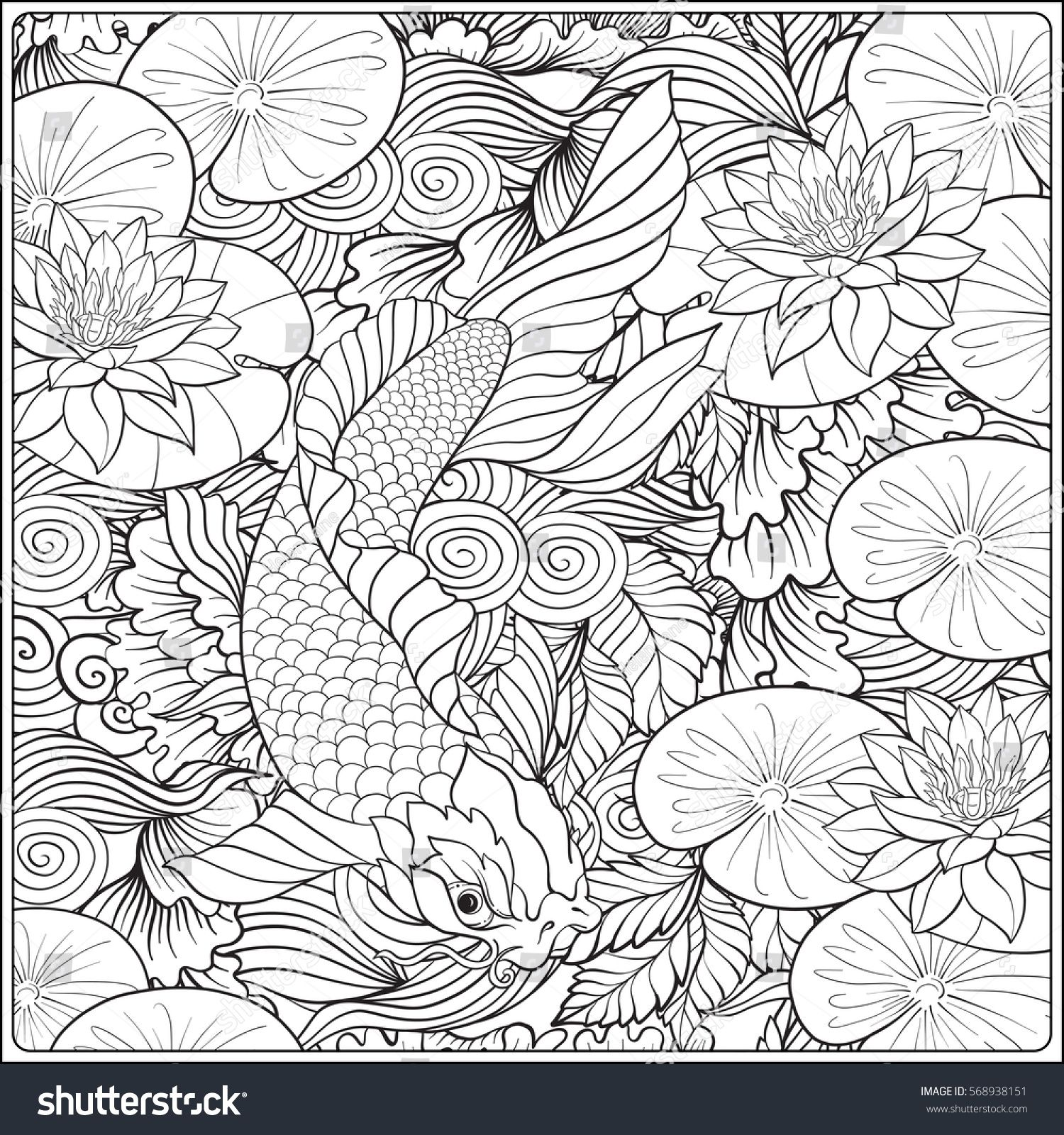 Japanese landscape with lotus and fish outline drawing coloring page coloring book for adult vector stock illustration