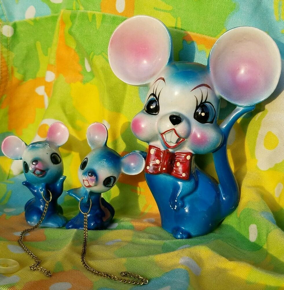 Vintage Anthropomorphic ARNART Blue Glazed Mouse W Red Bow
