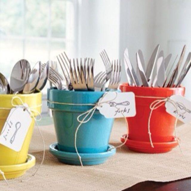 Pots to hold utensils for entertaining.