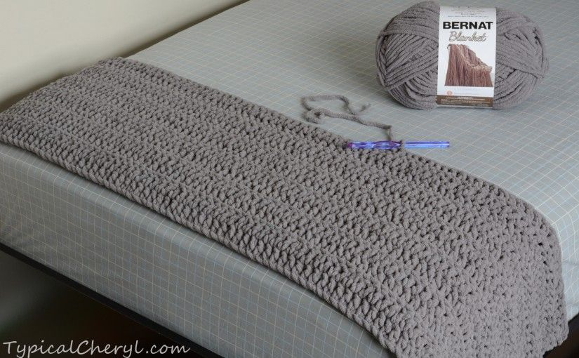 Crochet Bernat Blanket - one skein finished on a twin size bed ...