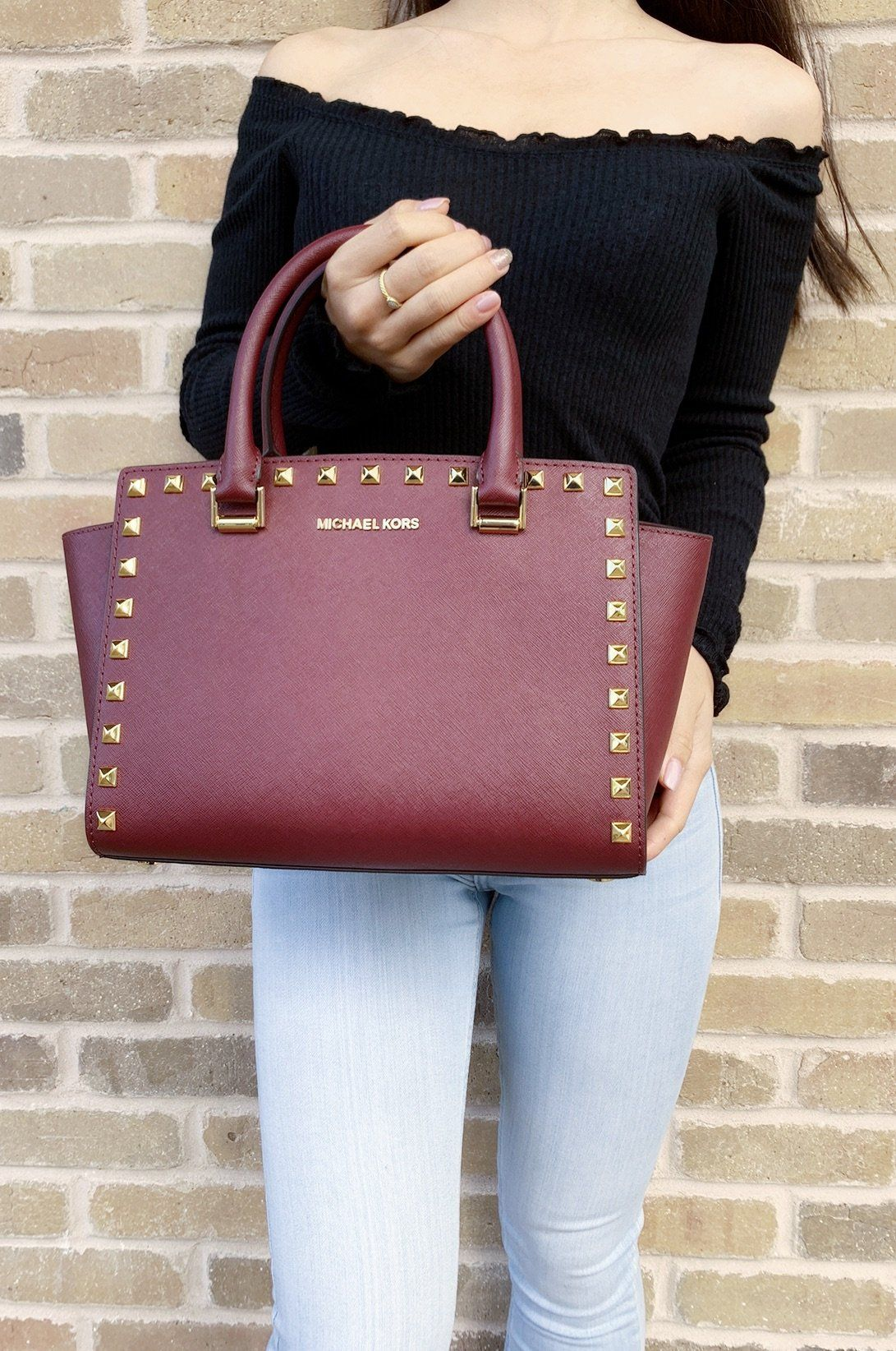 afcacb4d8f9e74 Michael Kors Medium Selma Studded Merlot Satchel Saffiano Leather Crossbody