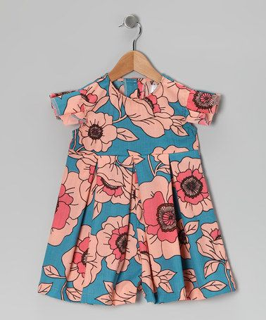 LOVE this Blue & Pink Floral Angel-Sleeve Romper - Infant, Toddler & Girls by Right Bank Babies on #zulily today!