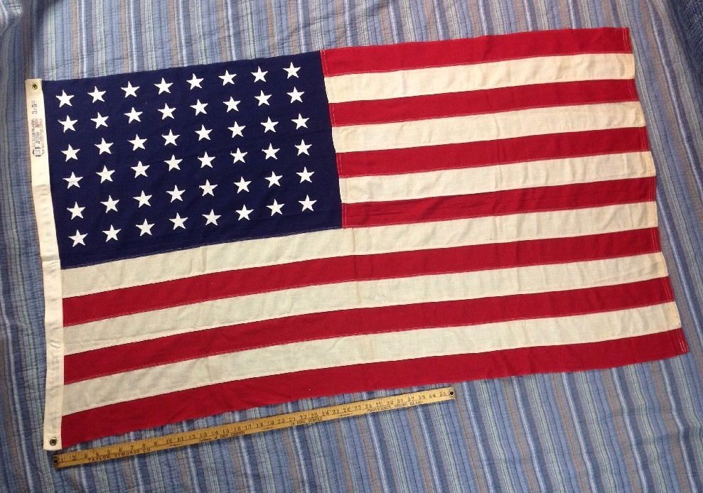 Original 48 Star Sewn Us Flag American Made Bull Dog Bunting 3x5 Wwii Era Mint Us Country Country Country Flags