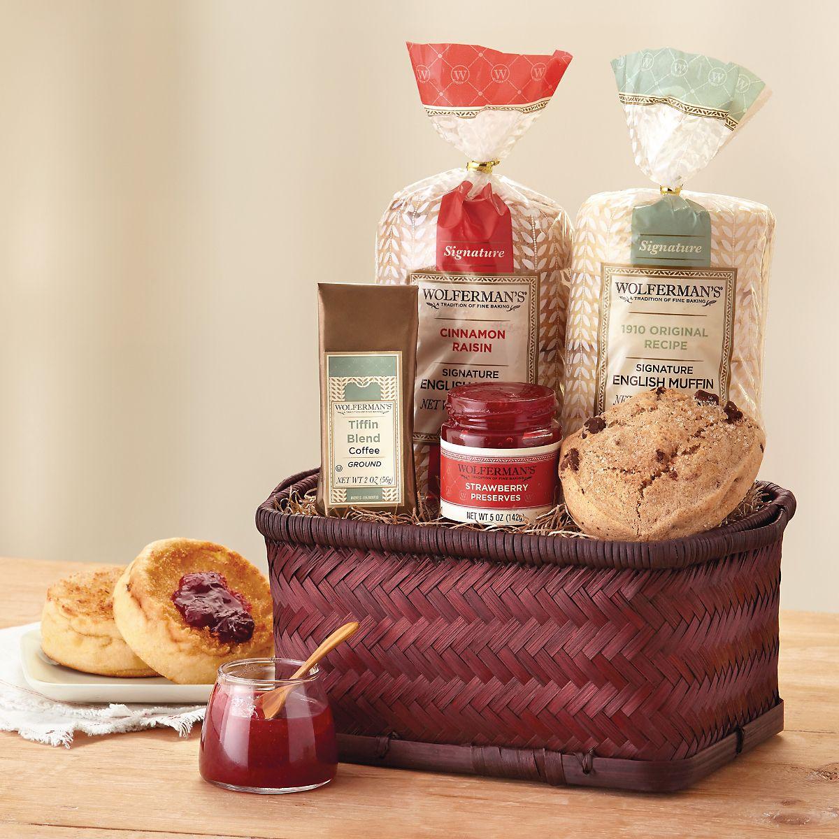 English muffin sampler basket breakfast gift basket