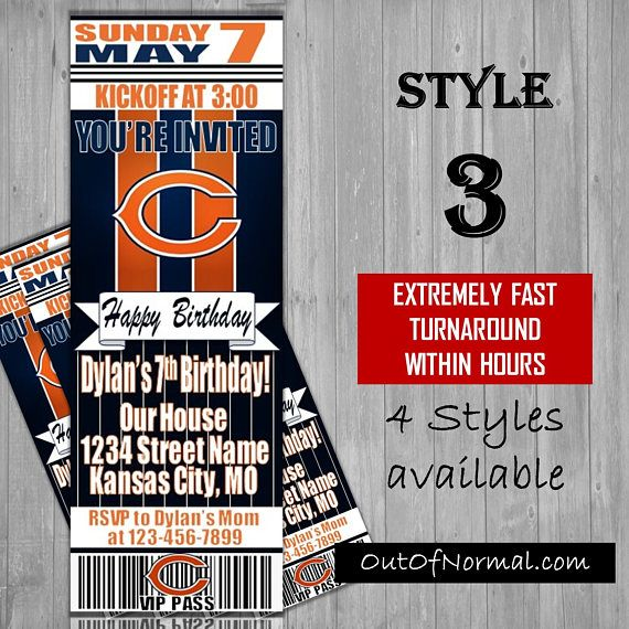 Chicago Bears Nfl Football Ticket Style Invitation With Images