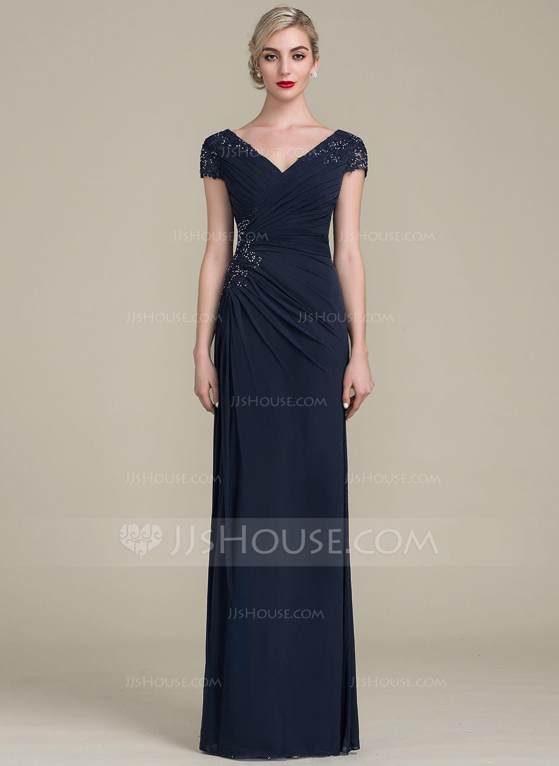 5e8dab0b90 Corte A Princesa Escote en V Hasta el suelo Jersey Vestido de noche con  Cuentas Lentejuelas