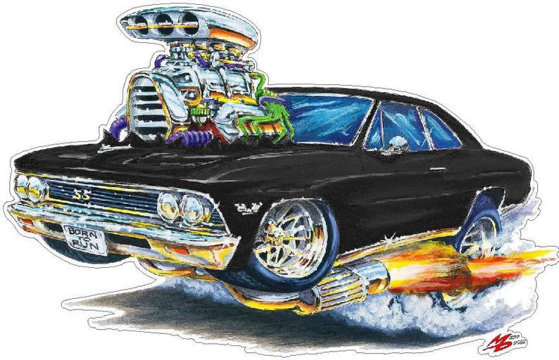 Classic Car 1966 Chevelle Flashback Wall Decal, Car Photo Decal, Man Cave Decor, Fathers Day Gift, Boys Room Decor, Hot Rod Car