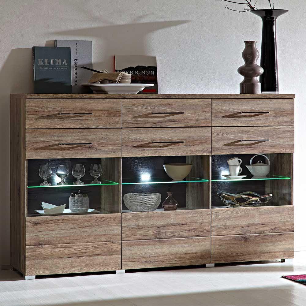 Dieses Wohnzimmer Sideboard In Eiche San Remo Fgt Sich Perfekt Ihre Einrichtung Ein