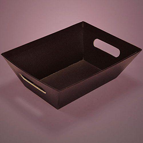 Cardboard Colored Rectangular 10 X 7 1 2 X 3 1 4 Black Basket Tray Pkg Basket Boxes 5 Each By Paper Mart Basket Tray Black Basket Tray