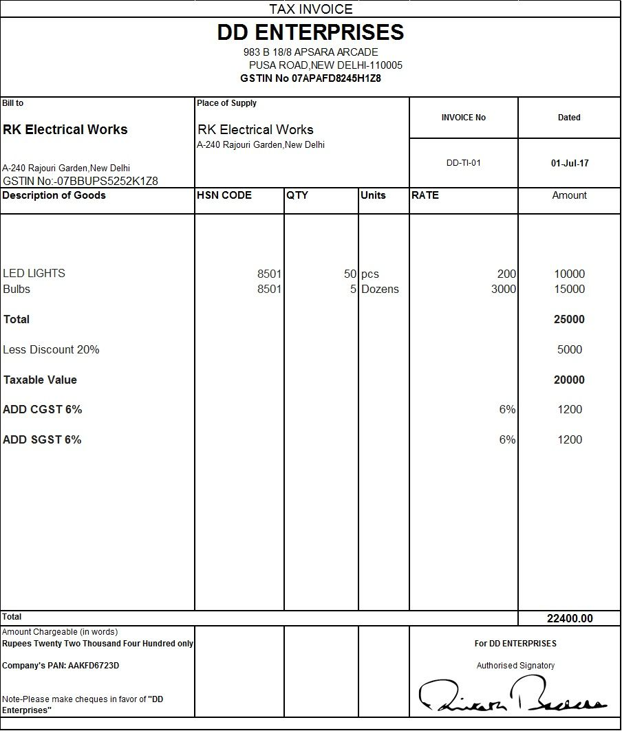 Download Excel Format Of Tax Invoice In GST GST Goods And - Construction invoice template word online clothing stores for men