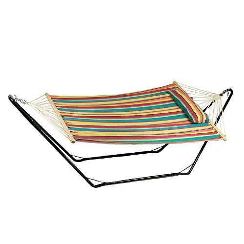 Sunnydaze Cotton Fabric Hammock With Stand Hammock Stand Outdoor Hammock Candy Stripes